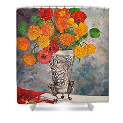 Vase With Bird Shower Curtain