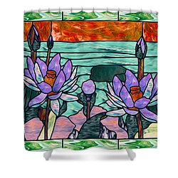 Vector Illustration Of Flower Sunflower In Stained Glass Window  Shower Curtain by Lanjee Chee