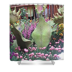 Shower Curtain featuring the photograph Vegas Butterfly Garden Flowers Cactus Romanti Interior Decorations by Navin Joshi