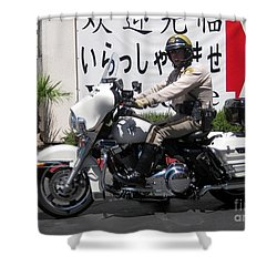 Vegas Motorcycle Cop Shower Curtain by John Malone