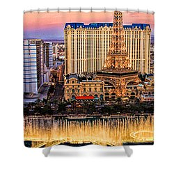 Vegas Water Show Shower Curtain by Tammy Espino