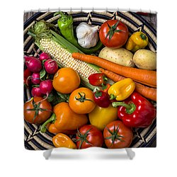 Vegetable Basket    Shower Curtain by Garry Gay