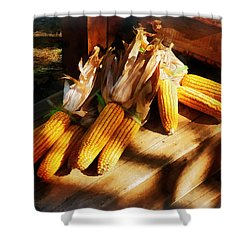 Vegetable - Corn On The Cob At Outdoor Market Shower Curtain by Susan Savad