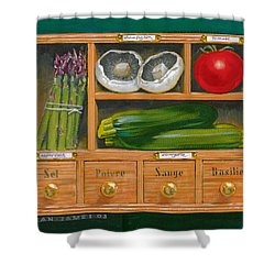 Vegetable Shelf Shower Curtain by Brian James