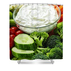 Vegetables And Dip Shower Curtain by Elena Elisseeva