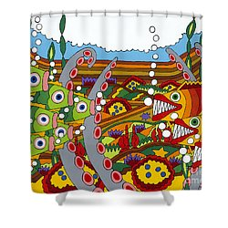 Vegetarians And Meat Eaters Shower Curtain by Rojax Art