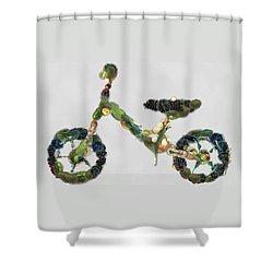 Shower Curtain featuring the digital art Green Yummy Bike by Maciek Froncisz