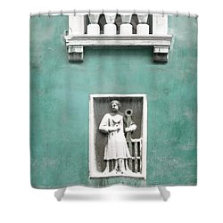 Shower Curtain featuring the photograph Venetian Balcony And Sculpture On Aqua Blue Green by Brooke T Ryan