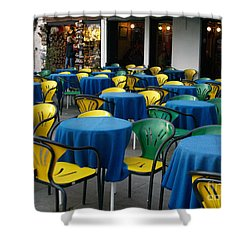 Shower Curtain featuring the photograph Venetian Cafe by Robin Maria Pedrero