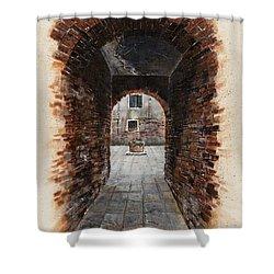 Shower Curtain featuring the painting Venetian Courtyard 01 Elena Yakubovich by Elena Yakubovich