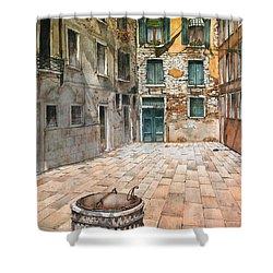 Venetian Courtyard 02 Elena Yakubovich Shower Curtain by Elena Yakubovich