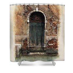 Shower Curtain featuring the painting Venetian Door 01 Elena Yakubovich by Elena Yakubovich
