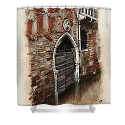 Shower Curtain featuring the painting Venetian Door 03 Elena Yakubovich by Elena Yakubovich