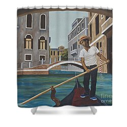 Venetian Gondolier Shower Curtain by AnnaJo Vahle