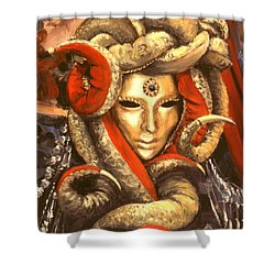 Shower Curtain featuring the painting Venetian Mystery Mask by Michael Swanson