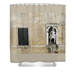 Shower Curtain featuring the photograph Venetian Statue And Doors On Beige And Black by Brooke T Ryan