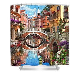 Venetian Waterway Shower Curtain by Dominic Davison