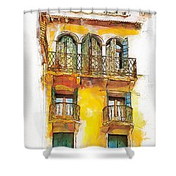 Shower Curtain featuring the painting Radiant Abode by Greg Collins