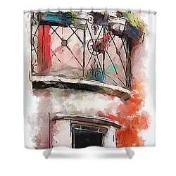 Shower Curtain featuring the painting Venetian Windows 4 by Greg Collins