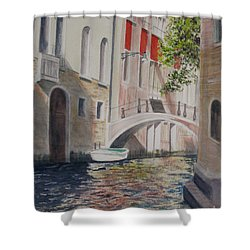 Shower Curtain featuring the painting Venice 2000 by Carol Flagg