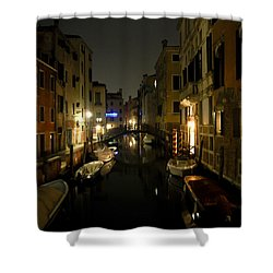 Shower Curtain featuring the photograph Venice At Night by Silvia Bruno