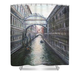 Venice Bridge Of Sighs - Original Oil Painting Shower Curtain