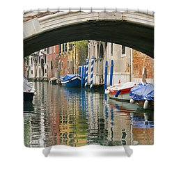 Shower Curtain featuring the photograph Venice Canal Boat by Silvia Bruno