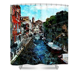 Venice Canal Shower Curtain by Claire Bull