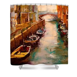 Venice Canal Shower Curtain by David Patterson
