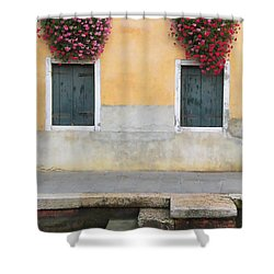 Venice Canal Shutters With Window Flowers Shower Curtain