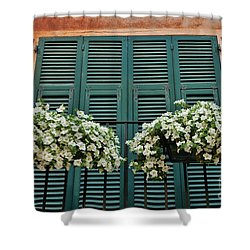 Shower Curtain featuring the photograph Venice Flower Balcony 2 by Allen Beatty