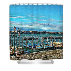 Shower Curtain featuring the photograph Venice Gondolas On The Grand Canal by Kathy Churchman