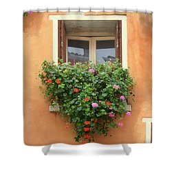 Venice Shutters Flowers Orange Wall Shower Curtain