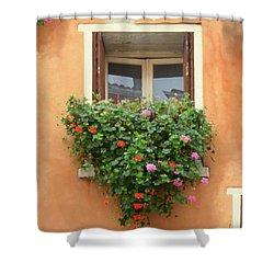 Venice Shutters Flowers Orange Wall Shower Curtain