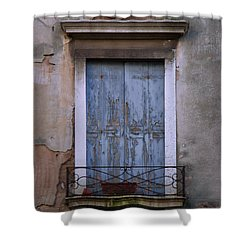Venice Square Blue Shutters Shower Curtain