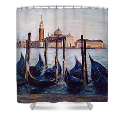 Venice Through The Gondolas Italy Painting Shower Curtain by Quin Sweetman