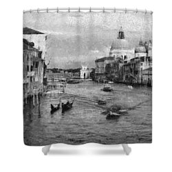 Vintage Venice Black And White Shower Curtain