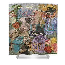 Venice Vintage Trendy Italy Travel Collage  Shower Curtain