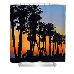 Shower Curtain featuring the photograph Ventura Boardwalk Silhouettes by Lynn Bauer