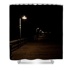 Ventura Pier At Night Shower Curtain by John Daly