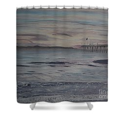 Ventura Pier High Surf Shower Curtain