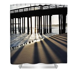 Shower Curtain featuring the photograph Ventura Pier Shadows by Kyle Hanson