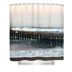 Shower Curtain featuring the photograph Ventura Storm Pier by Henrik Lehnerer