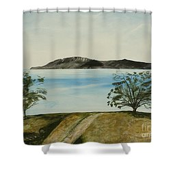 Ventura's Two Trees With Santa Cruz  Shower Curtain