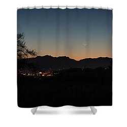 Shower Curtain featuring the photograph Venus And A Young Moon Over Tucson by Dan McManus