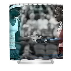 Venus Williams And Serena Williams Shower Curtain by Marvin Blaine