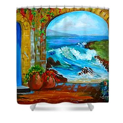 Veranda Ocean View Shower Curtain