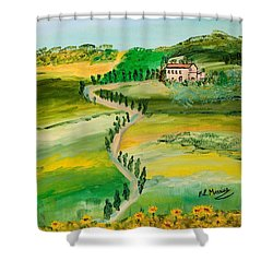 Verde Sentiero Shower Curtain by Loredana Messina