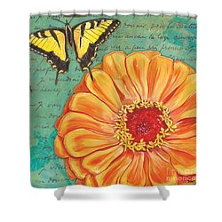 Verdigris Floral 1 Shower Curtain