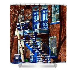 Verdun Duplex Stairs With Birch Tree Montreal Winding Staircases Winter City Scene Carole Spandau Shower Curtain by Carole Spandau